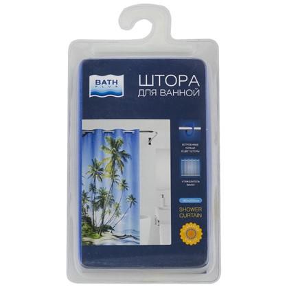 Купить Штора для ванной Palma 2 180х200 см цвет синий дешевле