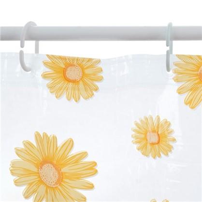 Купить Штора для ванной Ромашки 180х200 см цвет жёлтый дешевле