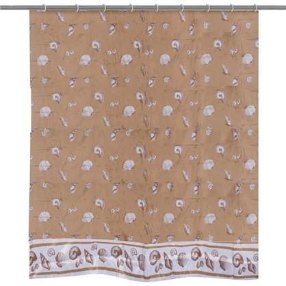 Штора для ванной Ромбы зелёная 180х200 см цвет коричневый