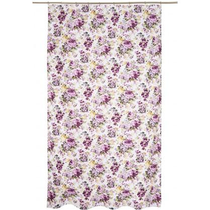 Купить Штора на ленте Цветы акварель 140х260 см цвет сиреневый дешевле