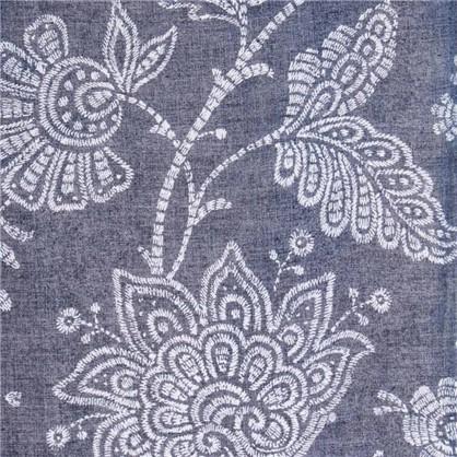Штора на ленте Королевский цветок 160х260 см блэкаут цвет синий