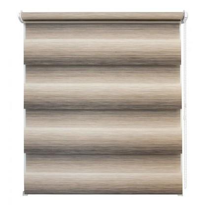 Штора рулонная день-ночь Ливерпуль 140х175 см цвет бежево-коричневый