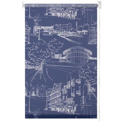 Штора рулонная Город 120х175 см цвет темно-синий