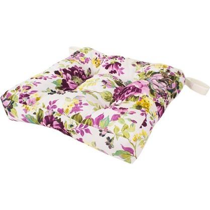 Сидушка для стула Акварель цветы 40х35 см цвет сиреневый