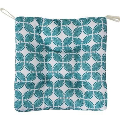 Купить Сидушка для стула Геометрия 40х35 см цвет бирюзовый дешевле