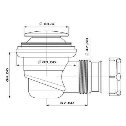 Купить Сифон для душевого поддона автоматический слив d 50 мм d 60 мм дешевле