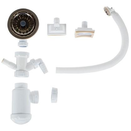 Сифон для кухонной мойки с переливом и регулируемым клапаном