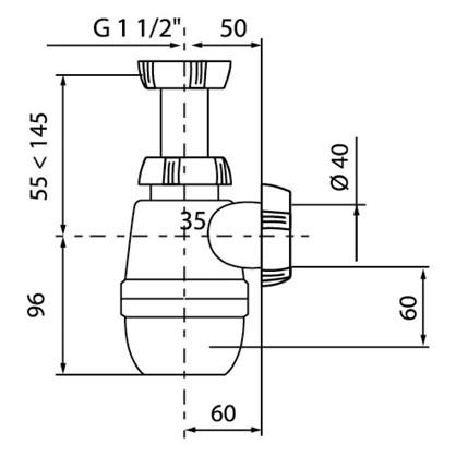 Сифон для мойки Wirquin средний без выпуска 1 1/2 дюймах40 мм полипропилен