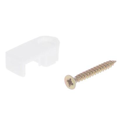 Скоба плоская с саморезом для провода 10.5х45 мм пластик 65 шт.