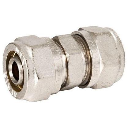 Соединитель обжимной Valtec 16 мм никелированная латунь
