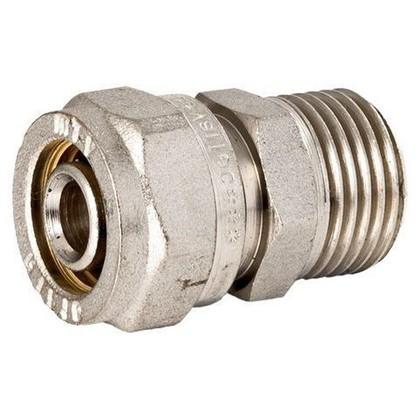 Соединитель обжимной Valtec наружная резьба 16х3/4 мм никелированная латунь