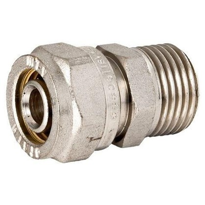 Соединитель обжимной Valtec наружная резьба 26х1 мм никелированная латунь