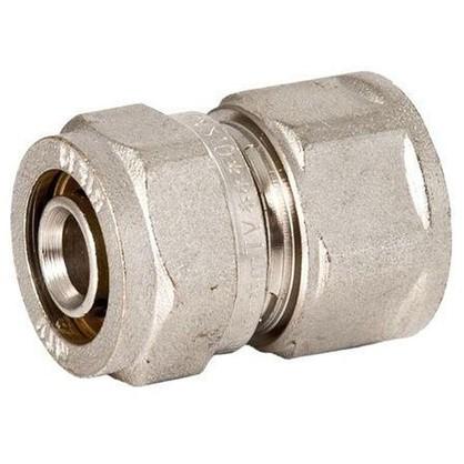 Соединитель обжимной внутренняя резьба 26 мм х 3/4 никелированная латунь