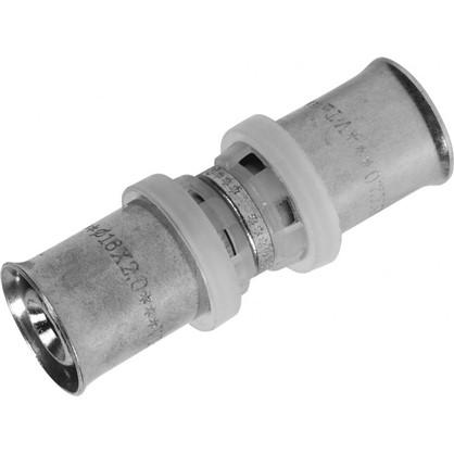 Соединитель пресс Valtec 16х16 мм никелированная латунь