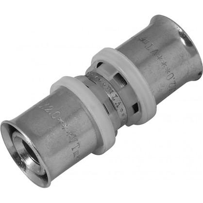 Соединитель пресс Valtec 20х20 мм никелированная латунь