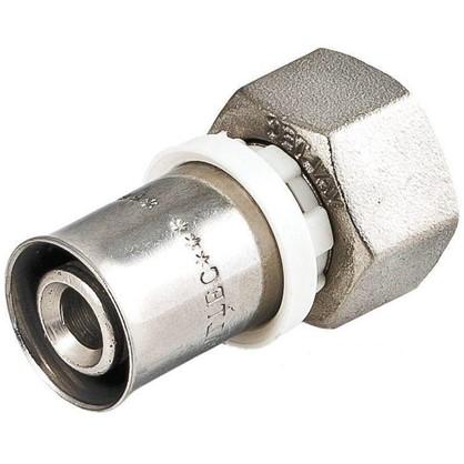 Соединитель пресс Valtec с накидной гайкой 16х1/2 мм никелированная латунь