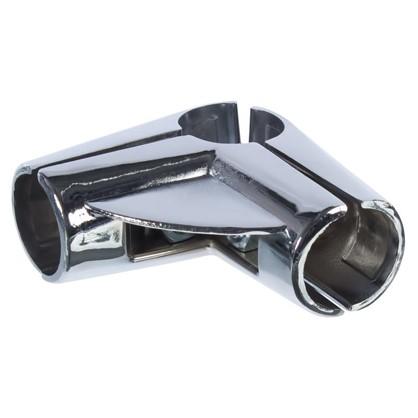 Соединитель трех труб угловой d25 мм с площадкой для полки цвет хром