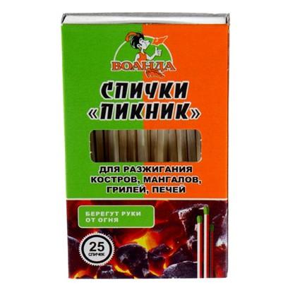 Спички обычные Пикник для розжига мангалов грилей 25 шт. в коробке