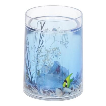 Стакан для зубных щеток Аквалиния Морская рыбка пластик цвет голубой