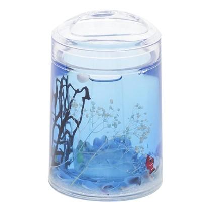 Стакан для зубных щеток настольный Аквалиния Морская рыбка пластик цвет голубой