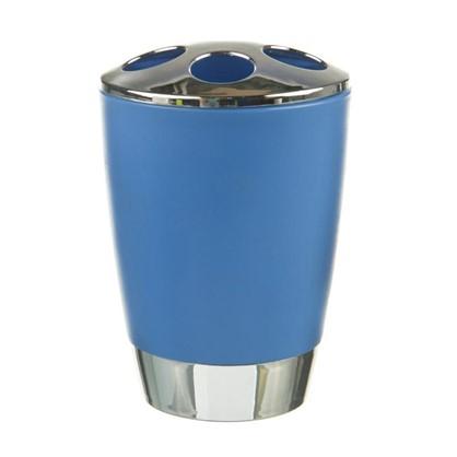 Купить Стакан для зубных щеток настольный Альма пластик цвет синий дешевле