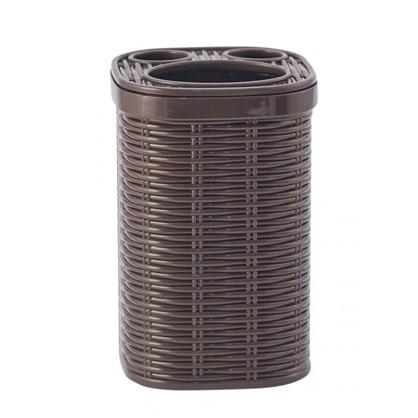 Стакан для зубных щеток настольный Swensa Rotang пластик цвет коричневый