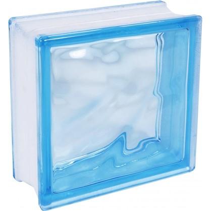 Купить Стеклоблок Богема Волна окрашенный в массе цвет голубой дешевле