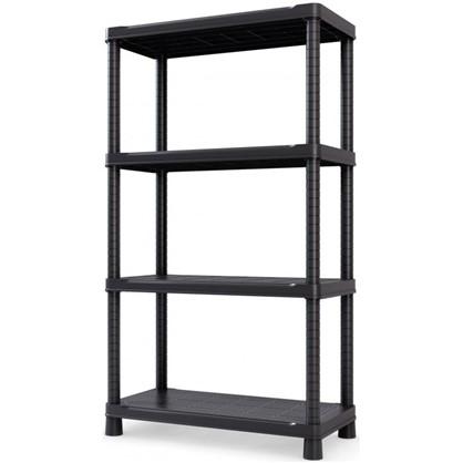 Купить Стеллаж 143x80x40 см 4 полки пластик цвет черный 70 кг дешевле