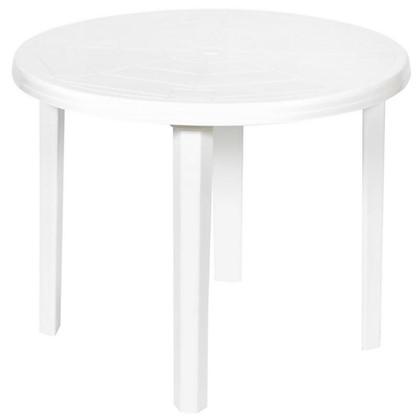 Купить Стол садовый круглый 85.5x71x85.5 см пластик цвет белый дешевле