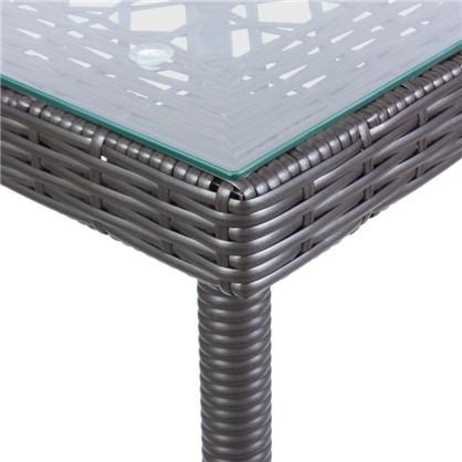 Стол садовый обеденный Орфей 76х90 см стекло/сталь цвет коричневый