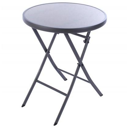 Стол садовый складной 60x71x60 см металл/стекло цвет серый