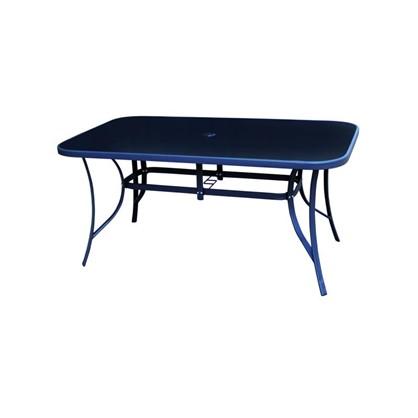 Стол стальной 160x90x70 см стеклянная столешница