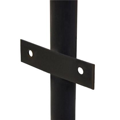 Купить Столб для забора с планкой (ушами) высота 2.3 м диаметр 40 мм цвет чёрный дешевле