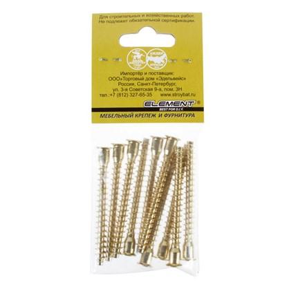 Стяжка мебельная шурупная PZ 7х70 мм металл цвет латунь 10 шт.
