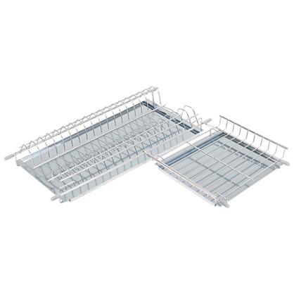 Сушилка для посуды двухъярусная в верхнюю угловую базу 600x600 мм цвет решетки хром