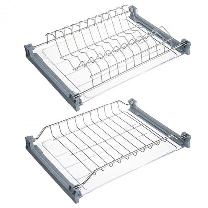 Сушилка для посуды с двумя поддонами для верхнего шкафа 400 мм нержавеющая сталь цвет хром