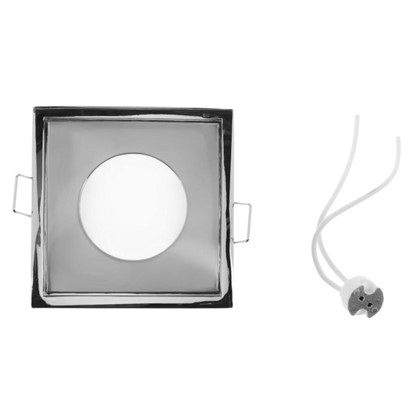Светильник встраиваемый Aqua квадратный цоколь GU5.3 50 Вт цвет никель IP65