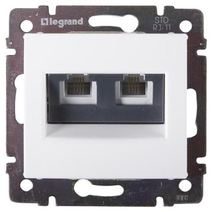 Телефонная розетка Legrand Valena RJ11 2 разъема цвет белый