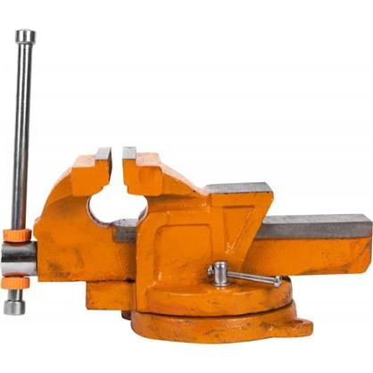 Купить Тиски слесарные поворотные Калибр ТПСН-100 с наковальней 100 мм дешевле