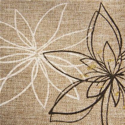 Ткань Цветы 280 см лен цвет коричневый