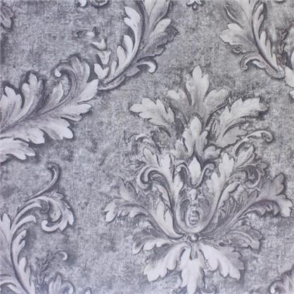 Купить Ткань сатен Листья 280 см цвет серый дешевле