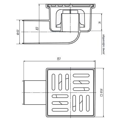 Купить Трап для душа 100х100 мм горизонтальный слив нержавеющая сталь дешевле
