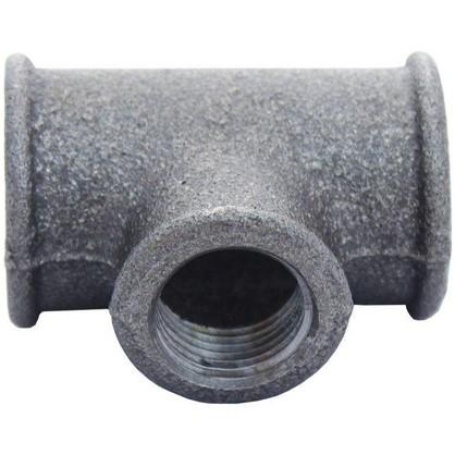 Тройник 3/4х1/2 мм ковкий чугун цвет черный