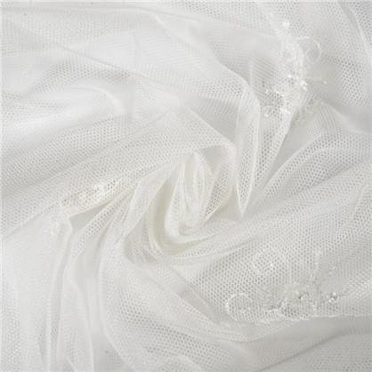 Тюль GREK вуаль с вышивкой цвет перламутровый