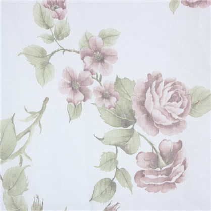 Тюль на ленте для кухни Роза 140х180 см цвет коричневый