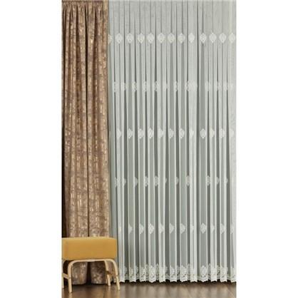 Тюль с вышивкой Короны сетка 290 см цвет кремовый