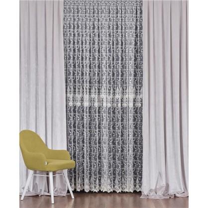 Купить Тюль с вышивкой на сетке Грация 1 п/м 290 см цвет кремовый дешевле