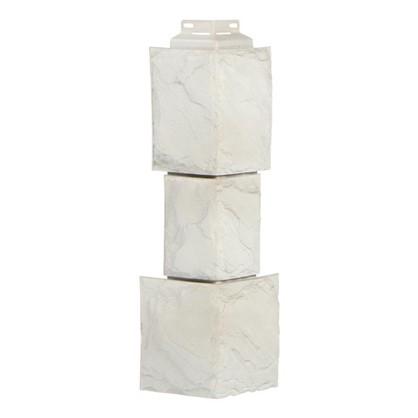 Угол наружный Fineber Камень крупный цвет мелованный белый