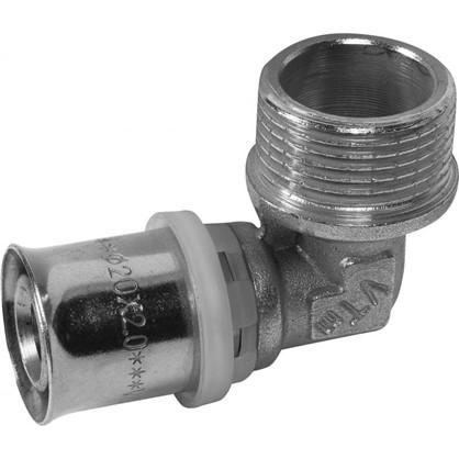 Угол пресс Valtec наружная резьба 20х3/4 мм никелированная латунь