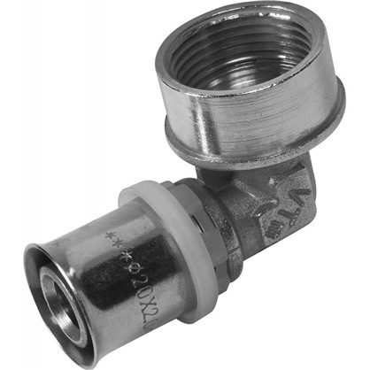 Угол пресс Valtec внутренняя резьба 20х3/4 мм никелированная латунь